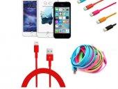 Renkli İphone 5 5s 6 6s Usb Data Kablosu Kırmızı