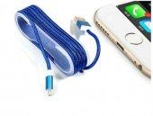 Iphone Örgü Şeklinde Renkli Çelik Şarj Data Kablosu Mavi