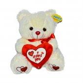 Oyuncak Kalp Yastıklı Oturan Peluş Ayı 35 Cm Kırmızı Kalpli