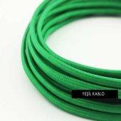 2x0,50mm Yeşil Renkli Dekoratif Örgülü Kumaş Kablo, 5 Metrelik Paket