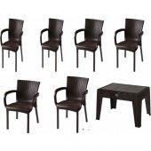 Comfort 6 Sandalye 1 Sehpa K.kahverengi Rattan Takım