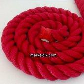 2cm Dekoratif Örgülü Kırmızı Halat, 1 Metre Kablosuz