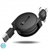 Cafele 3in1 Makaralı Usb Şarj Kablosu Type C İphone Micro Kablo