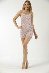 Papatya Desenli Şortlu Kadın Tulum Pijama