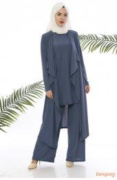 9000 Pantolon Bluz Ceket Üçlü Kombin Takim Indigo