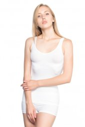 Emay 5010 Seamless Kalın Askılı Korsesi Atleti Beyaz