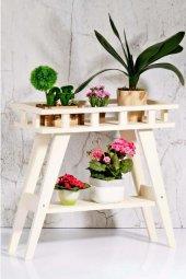 Beşik Sehpa Çiçeklik (Beyaz)