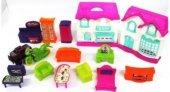 Oyuncak Bebek Evi Yerli Üretim 16 Parça Neşeli Evim