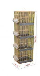 Canser 4 Katlı Ötüş Sarı Galvaniz Kafes (C 488)