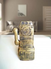 Cajuart Dekoratif Retro Eski Tip Telefon Şekilli El Yapımı Biblo