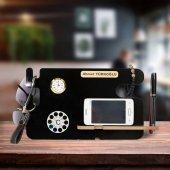 Kişiye Özel Masa Üstü Telefon Şarj Standlı Termome...