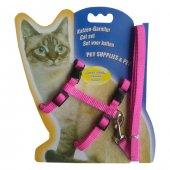 Kedi Göğüs Bel Tasma Takımı Medium Pembe