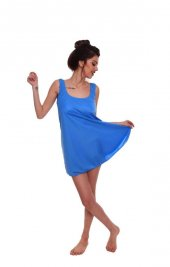 Kadın Geniş Askılı U Yaka Elbise Mayo Renk Seçenekli