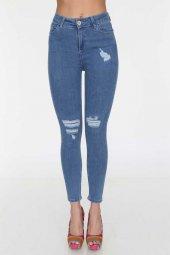 Lazer Yırtık Yüksek Bel Kadın Kot Pantolon Full Power Likralı