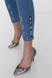 Paça İşlemeli Kadın Kot Pantolon Full Power Likralı