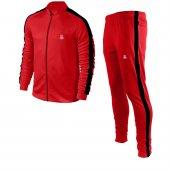 Erkek Kırmızı Sporcu Eşofman Takımı Siyah Şerit