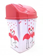 2 No Klik Çöp Kovası 8 Lt Pembe Flamingo Desenli...