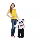 80 Cm Peluş Ayakta Tulumlu Panda Elinde Güllü