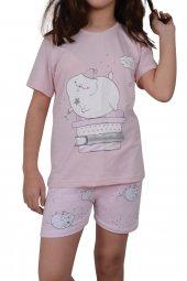 Kız Çocuk Şortlu Pijama Takımı Kısa Kollu Pamuk