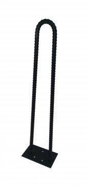 Retro U Tarz Nervurlu Demirden Rustik Firkete Masa Ve Sehpa Ayak Siyah 90 Cm