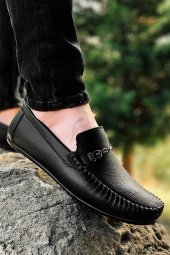 Milano Siyah Tokalı Cilt Erkek Babet