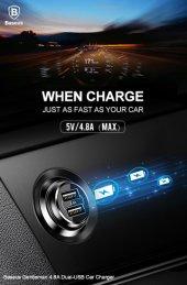 Baseus Gentleman Dual Usb Car Charger (Ccall Gb09) Kırmızı