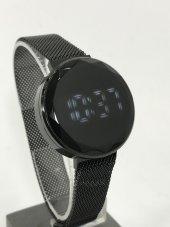 Dokunmatik Siyah Led Watch Dijital Çelik Kasa Bayan Saat