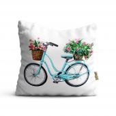 Bisiklet Desenli Dijital Baskılı Dekoratif Kırlent...