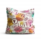 Love Desenli Dijital Baskılı Dekoratif Kırlent Kıl...