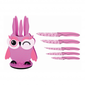 Rooc Owl 1512 Pembe Baykuşlu Bıçak Seti
