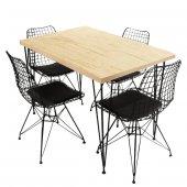 Viluxe Tel Ayaklı Ahşap Masa Sandalye Takımı Antik Beyaz