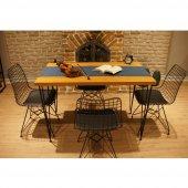 Viluxe Tel Ayaklı Ahşap Masa Sandalye Takımı Ceviz Mutfak, Ofis, Bahçe