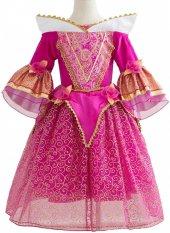 Kız Çocuk Fuşya İşlemeli Prenses Aurora Kostüm Aura Elbise Abiye