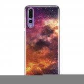 Huawei P20 Pro Kılıf Silikon Arka Koruma Kapak Galaksi Desenli
