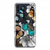Samsung Galaxy A50 Kılıf Silikon Arka Koruma Kapak Kelebek Çiçek