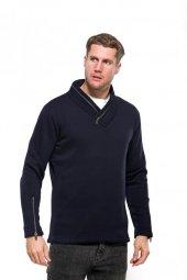 Karinmoda Fermuarlı Sweatshirt Yaka Ve Yan Bağcıklı Lacivert