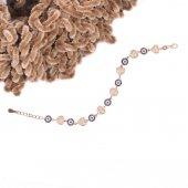 925 Ayar Gümüş Kalp Ve Nazar Boncuk Tasarım Bileklik
