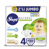 Sleepy Natural Bebek Bezi 4 Beden Maxi 2x2li Jumbo 120 Adet