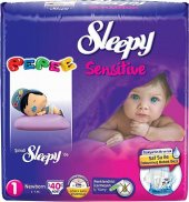 Sleepy Sensitive Bebek Bezi 1 Numara Yenidoğan Ped Hediyeli 40 Ad