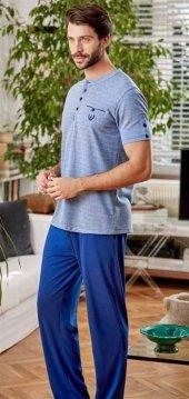 Eros Erkek Mavi Kutulu Çeyizlik 3lü Pijama Takımı 21000