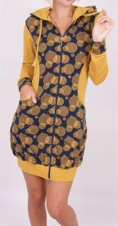 Kadın Tunik Ev Elbisesi Uzun Kollu Cepli Fermuarlı Kapüşonlu