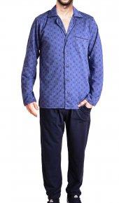 Erkek Pijama Takımı Uzun Kollu Cepli Düğmeli Pamuk