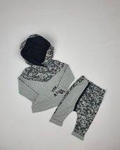 Erkek Bebek Yıldız Modelli Kapşonlu 2li Takım Gri C72414
