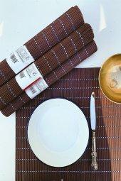 6lı Taşlı Kahve Bambu Amerikan Servis Takımı