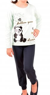 Kız Çocuk Pijama Takımı Uzun Kollu Diyagonal