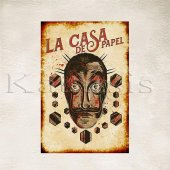 La Casa De Papel Maske Baskılı Ahşap Poster