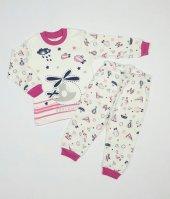Kız Erkek Bebek Zeplin Modelli Pijama Takımı 1 3 Yaş Pembe C70840 8
