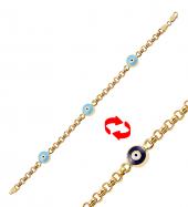 Gold Pera Sıralı Nazar Altın Bileklik 83335