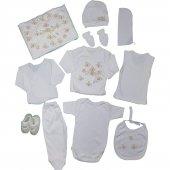 Kız Bebek Yaldızlı Çiçek Süslemeli Hastane Çıkış Seti Beyaz C71943 1