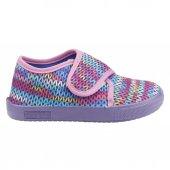 Sanbe 106p123 Okul Kreş Kız Çocuk Keten Panduf Ayakkabı Mor